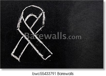 Art Print Of White Chalk Drawing As Black Ribbon Shape On Black