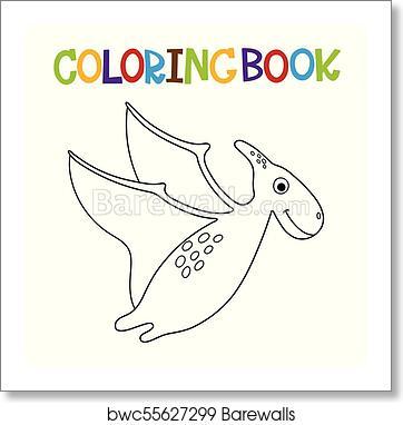 Cute dino coloring book art print poster