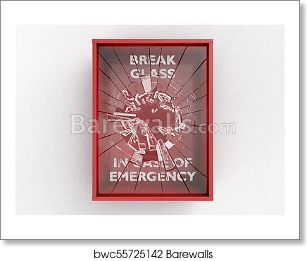 Break In Case Of Emergency Red Box Art Print Poster