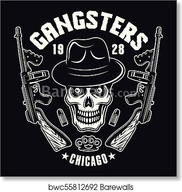 Art Print Of Gangster Skull With Two Machine Guns On Black