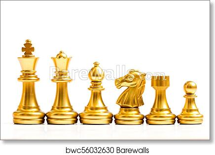 Art Print Of Gold Chess Piece Stand In A Row King Queen Bishop