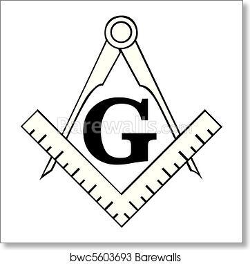 Art Print Of The Masonic Square And Compass Symbol Freemason
