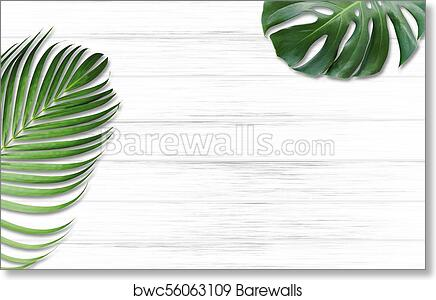 art print of monstera deliciosa and yellow palm tropical leaves