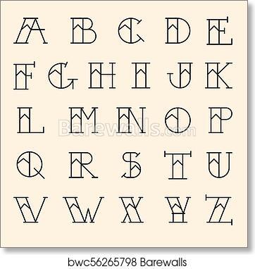 Art print of old school tattoo alphabet vector letters tattoo art print of old school tattoo alphabet vector letters tattoo traditional callygraphy font thecheapjerseys Images