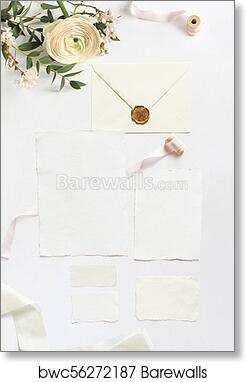 Art print of feminine wedding birthday desktop mock ups blank blank greeting cards envelope eucalyptus branches pink cherry tree blossoms and persian buttercup flowers white table background flat lay top view m4hsunfo