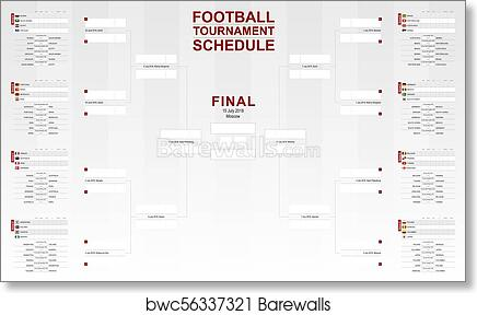 graphic regarding Printable World Cup Bracket named Soccer world wide cup 2018, event program. Vector Football Bracket. artwork print poster