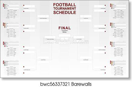 graphic regarding Printable World Cup Bracket named Soccer world wide cup 2018, event program. Vector Football Bracket. artwork print poster