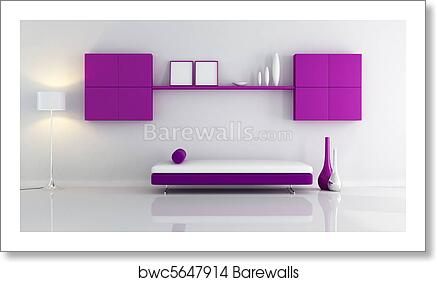 Purple and white living room art print poster