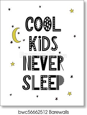 Cartoon Nursery Poster For Kids Scandinavian Lettering Quote Art Print