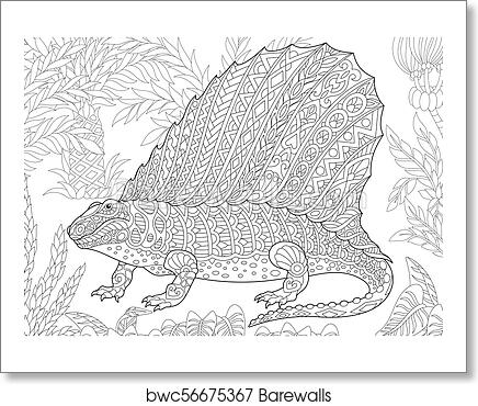 Dimetrodon Dinosaur coloring page | Free Printable Coloring Pages | 370x436