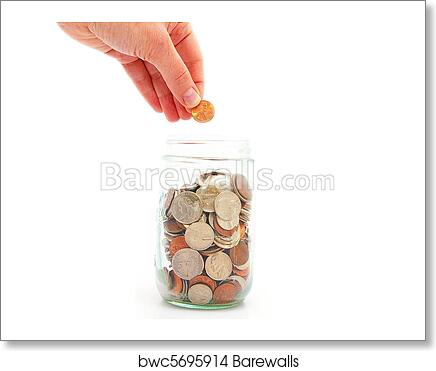 art print of hand putting penny in a coin jar saving money