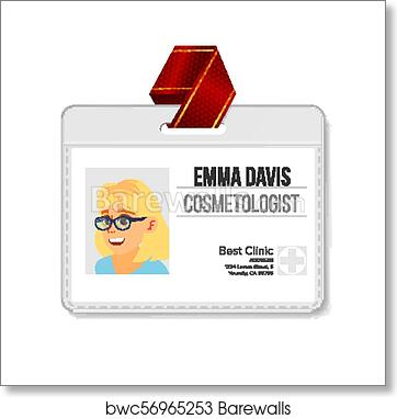 Art Print Of Cosmetologist Identification Badge Vector Woman Name Tag Template Health Doctor Medical Specialist Isolated Flat Cartoon Character