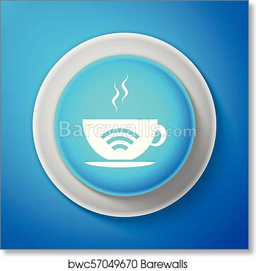 White Cup of coffee shop with free wifi zone icon isolated on blue  background  Internet connection placard  Circle blue button with white  line  Vector