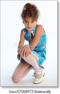 1c3ab3f2a85f4 Beautiful little girl in an asian blue dress in fashion style, Art Print