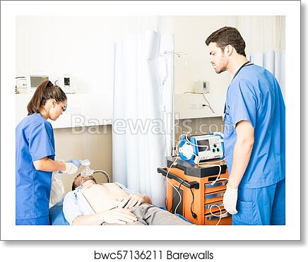 Resuscitation of an unconscious patient art print poster
