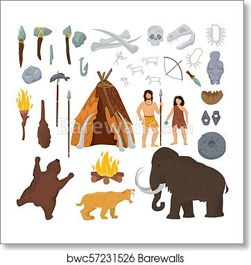 Art Print Of Primitive People Vector Mammoth And Ancient Caveman