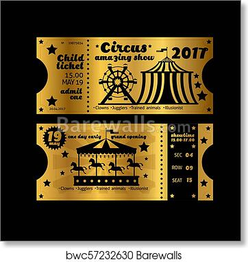 art print of vintage party invitation retro circus carnival ticket