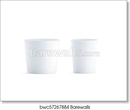 art print of blank white big and medium food bucket mockup set