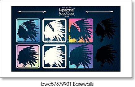 7c9e236af American indian logo, Apache logo, Art Print | Barewalls Posters ...
