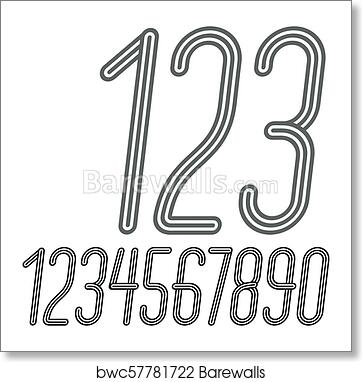 Vector trendy numbers collection  Retro italic condensed numerals from 0 to  9 best for use in poster creation  Made with triple stripy decoration  art
