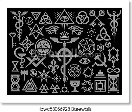 Art Print Of Medieval Occult Signs And Magic Stamps Silver Black
