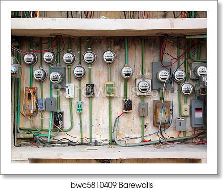 Electric Meter Messy Electrical Wiring Installation Art Print Barewalls Posters Prints Bwc5810409