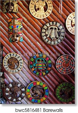 Aztec mayan  handcrafted mozaic wooden calendar art