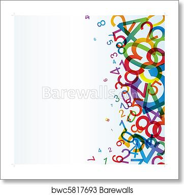 Abstract Background With Colorful Rainbow Numbers Art Print Poster