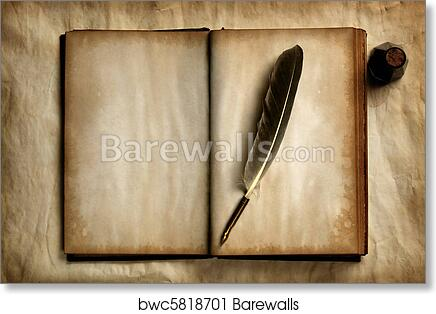 Art Print Of Quill On Old Book