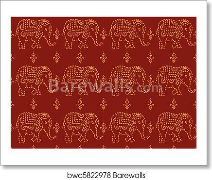 Pattern Indian Elephant Art Print Poster