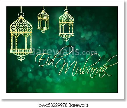 Art print of eid mubarak greeting for islamic holidays eid al fitr art print of eid mubarak greeting for islamic holidays eid al fitr and eid al adha m4hsunfo