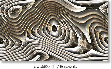 Abstract Curves Metal Parametric Curved Shapes 4k Seamless Background Art Print Poster