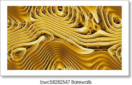Abstract Curves Golden Parametric Curved Shapes 4k Seamless Background Art Print Poster