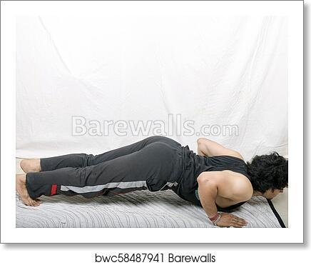 Young Indian Man Doing Yoga Surya Namaskar Art Print Barewalls Posters Prints Bwc58487941