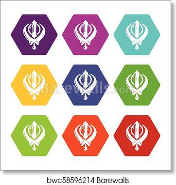 Art Print Of Khanda Symbol Sikhism Religion Icons Set 9 Vector