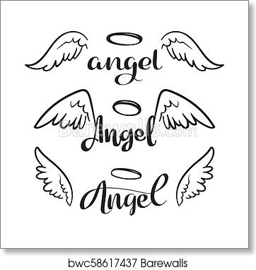 80e621fbe Doodle flying angel wings with halo. Sketch angelic wings. Freedom and  religious tattoo vector design isolated on white background, Art Print