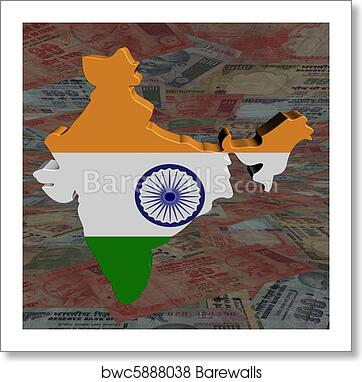 India Map Flag.Art Print Of India Map Flag With Rupees Perspective Barewalls