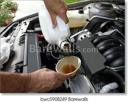 Art print of adding oil to a car barewalls posters prints male adding oil with a funnel after a do it yourself oil change solutioingenieria Image collections