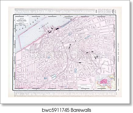 Color Street City Map Of Cleveland Ohio Oh Usa Art Print - Cleveland-us-map