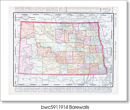 Antique Vintage Color Map of North Dakota, USA art print poster