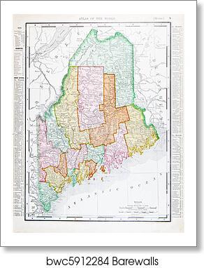 Antique Vintage Color Map Of Maine Unites States Art Print