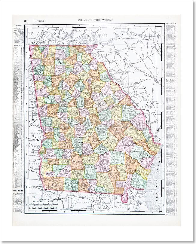 Map Of Georgia In Usa.Details About Antique Color Map Of Georgia Ga Art Print Home Decor Wall Art Poster D