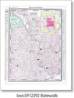 Antique Color Street Map Baltimore Maryland Usa Art Print