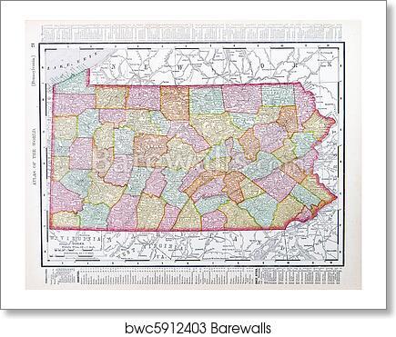 Antique Map Pennsylvania Pa United States Usa Art Print Barewalls - Us-map-pa