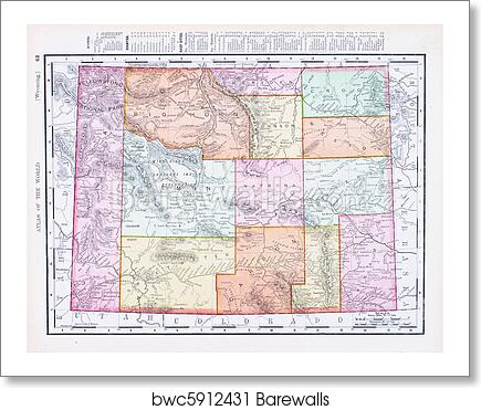 Antique Vintage Color Map of Wyoming, USA art print poster