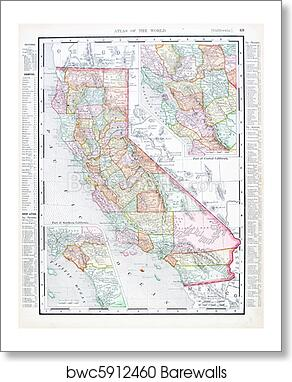 Art Print of Antique Color Map of California, United States USA ...