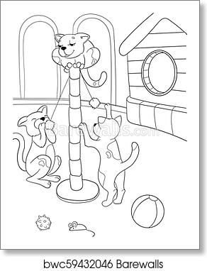 Childrens Coloring Book Cartoon Family On Nature Mom Cat And Kittens Children Art Print Barewalls Posters Prints Bwc59432046