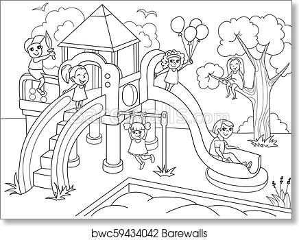 Learn How to Draw and Color a Playground Coloring Page with Swings ...   371x436