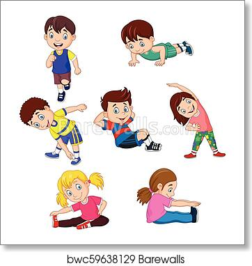 Cartoon Kids Yoga With Different Yoga Poses Art Print Barewalls Posters Prints Bwc59638129
