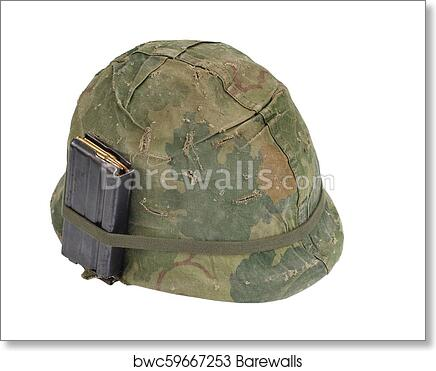 Us Army Helmet Vietnam War Period With Camouflage Cover Magazine With Ammo Isolated On White Art Print Barewalls Posters Prints Bwc59667253
